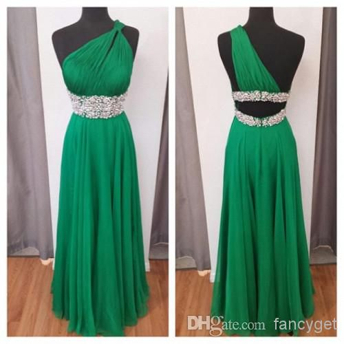Wholesale Evening Gowns - Buy Top Sexy Hot Selling Green One Shoulder Backless Beaded Long Prom Dresses 2014 A-line Floor Length Formal Dresses, $113.09 | DHgate