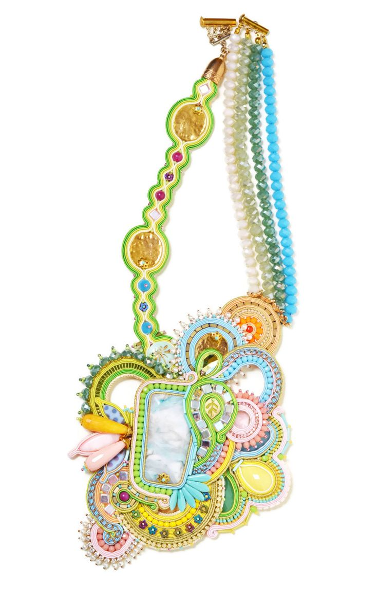 statement necklace handmade hippie bohemian jewelry festival soutache jewelry long beaded pastel necklace Green Festival gift women Agate by SixVintageChicks on Etsy