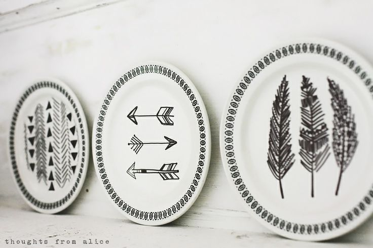 Thoughts from Alice: Eclectic Bohemian Summer Mantel; diy sharpie marker plates