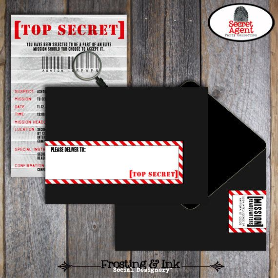 spy party invite secret agent party invitation it would just be