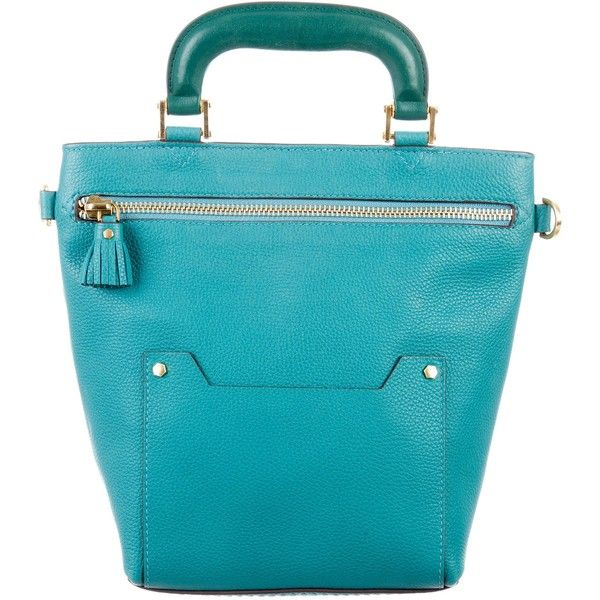 Pre-owned Anya Hindmarch Pebbled Leather Bag (730 CAD) ❤ liked on Polyvore featuring bags, handbags, shoulder bags, green, blue shoulder handbags, green purses, teal purse, handbag purse and zip shoulder bag