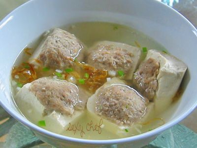 Tofu stuffed with ground beef soup