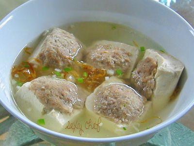 Tofu stuffed with ground beef soup