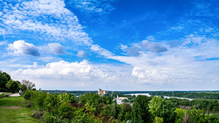 Cloudy Afternoon - A panorama view from the upper promenade of Dunaújváros, Hungary.