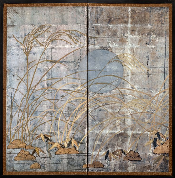 japanese screen autumn grass on silver c1900