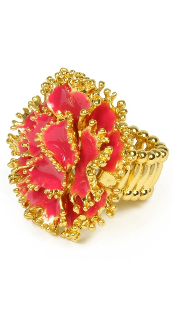 Ring :): Flower Design, Gold Finish Adjustable, Dillon Rings, Adjustable Rings, Ringconstruct Materials, Stretch Rings, Amrita Singh, Accessories, Jewelry Rings
