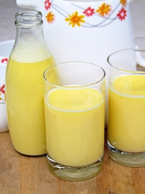 Corn milk, shaved fresh corn, and water in the food processor then strained. I'll have to try this. Can even be warmed for a sweeter, thicker consistency! Why did I think of this!