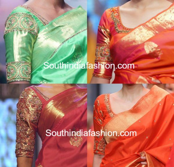 Simple Embroidered Blouse Designs for Silk Sarees
