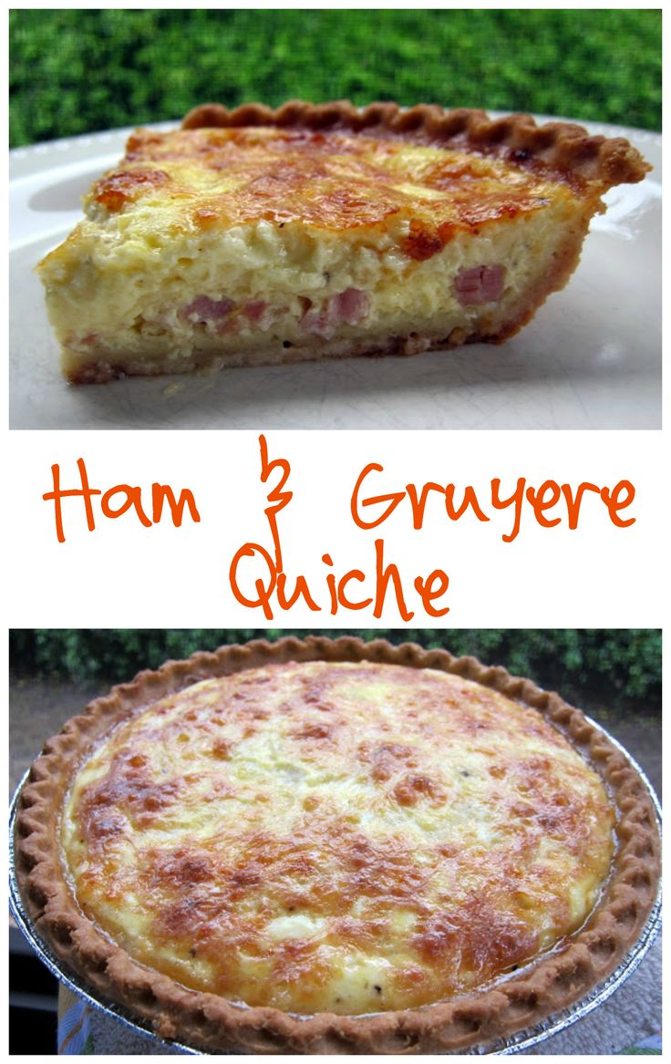 Ham and Gruyere Quiche Recipe - ham, cheese, eggs, milk and sour cream. We love to eat this quiche for dinner. You can freeze unbaked for a quick breakfast/dinner.