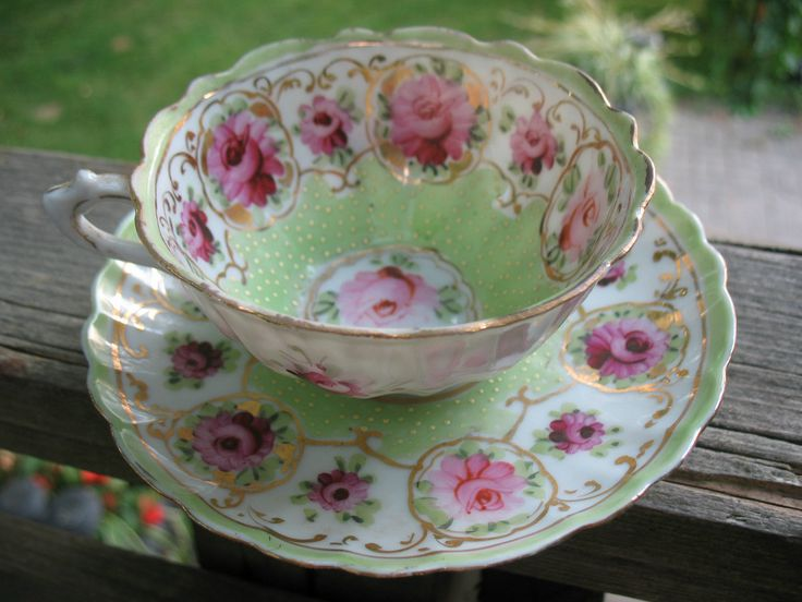 Antique Nippon TEA CUP AND Saucer Moriage Green White Dots Hand Painted Rose