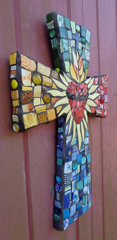 Sacred Heart Mosaic Art Cross Custom Order | Flickr - Photo Sharing!