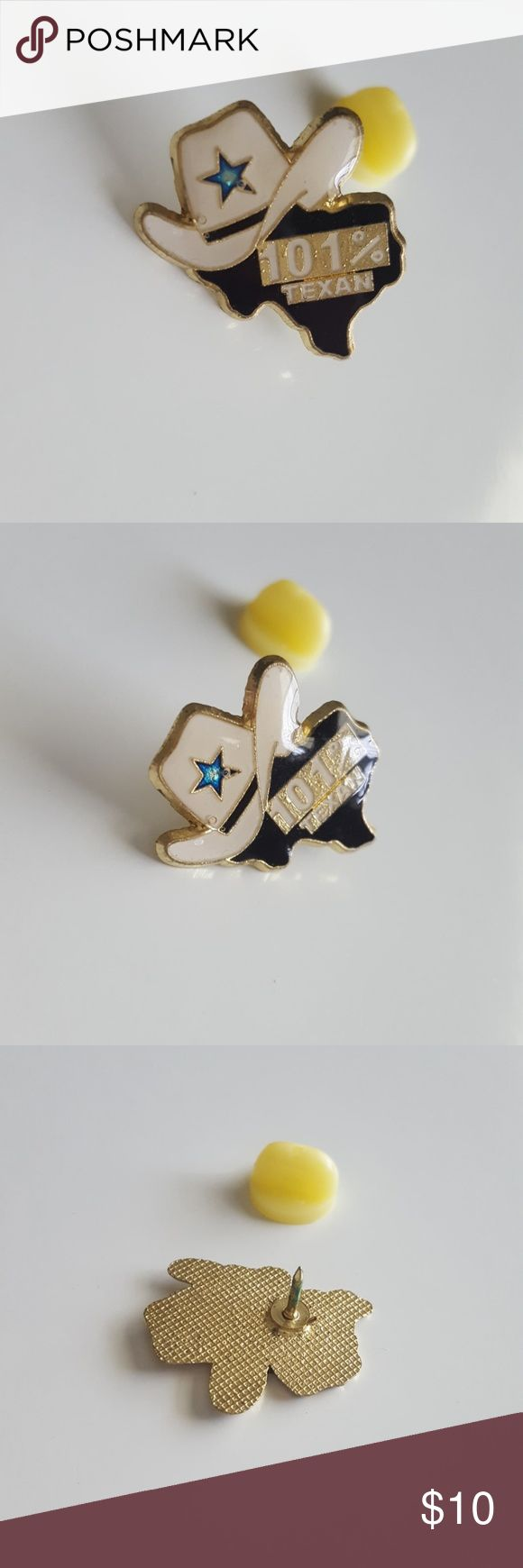 """101% Texan Pin This lovely vintage pin is of a cowboy hat with a blue star atop of the outline of the state of Texas. It says 101% Texan across the state with gold trim. Great with your favorite shirt and jeans.  Other great accessories listed in my closet.  Measurements are 1"""" long and .65"""" wide. Vintage Jewelry Brooches"""