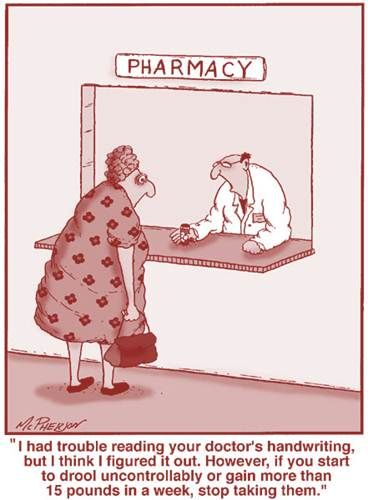 ☤ MD ☞☆☆☆ More Pharmacy, Pills, Drugs & Big Pharma Cartoons: pinterest.com/mediamed/pharma-cartoons/ [John McPherson. Pharmacy funnies...#funny Color: pinterest.com/pin/287386019946903039].