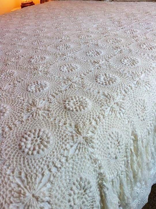 How to Crochet Lori's Bedspread using the technique Popcorn Stitch                                                                                                                                                     More