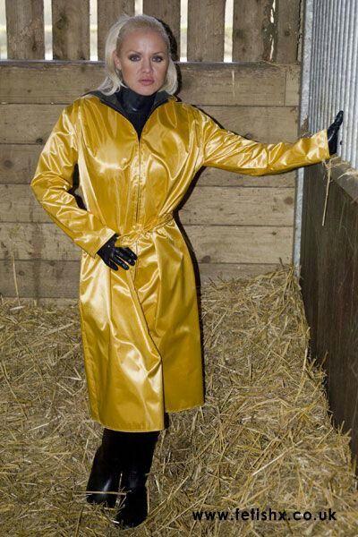 Rubberised satin raincoat