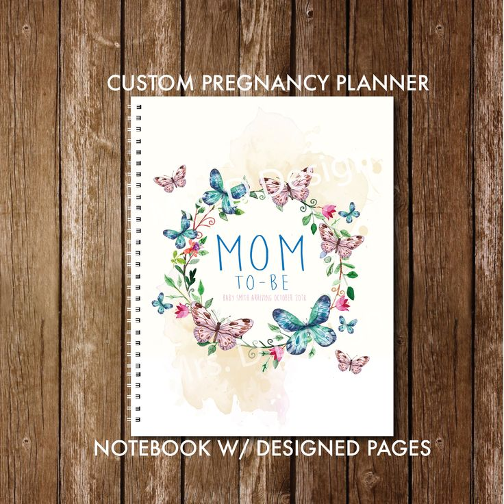 Personalized pregnancy diary with pre-made plans + diary layout, Butterflies & Flo …   – Baby Things