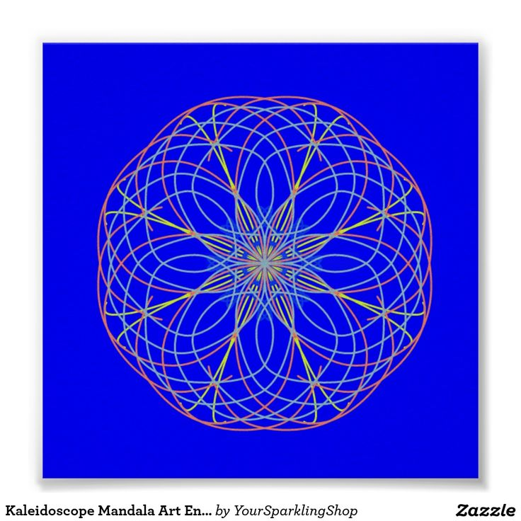 Kaleidoscope Mandala Art Energy Ball Blue Poster