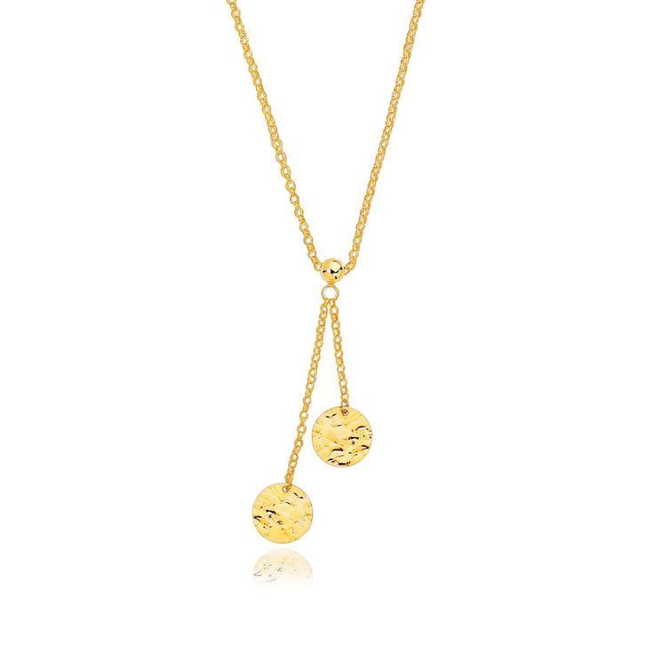 """Uniquepedia.com - 17"""" - 14K Yellow Gold Hammered Disc Lariat 17"""" Necklace, $217.00 (http://www.uniquepedia.com/17-14k-yellow-gold-hammered-disc-lariat-17-necklace/)"""