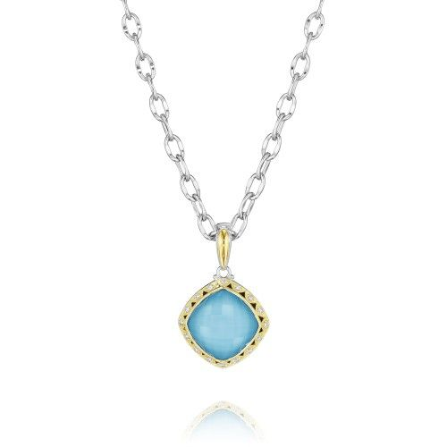 The Island Rains pendant is a lagoon-blue beauty that will keep the bright freshness of the beach with you all summer long. Diamond crescents frame the piece for an effortless sophistication, with statement making color and details.    Chain not included. Recommended chain style no. SC10038