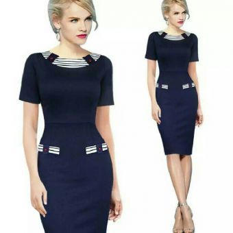This dress accentuates and flatters any figure. Material: Cotton BlendAvailable Sizes: Uk 8-20Colour: Navy Blue