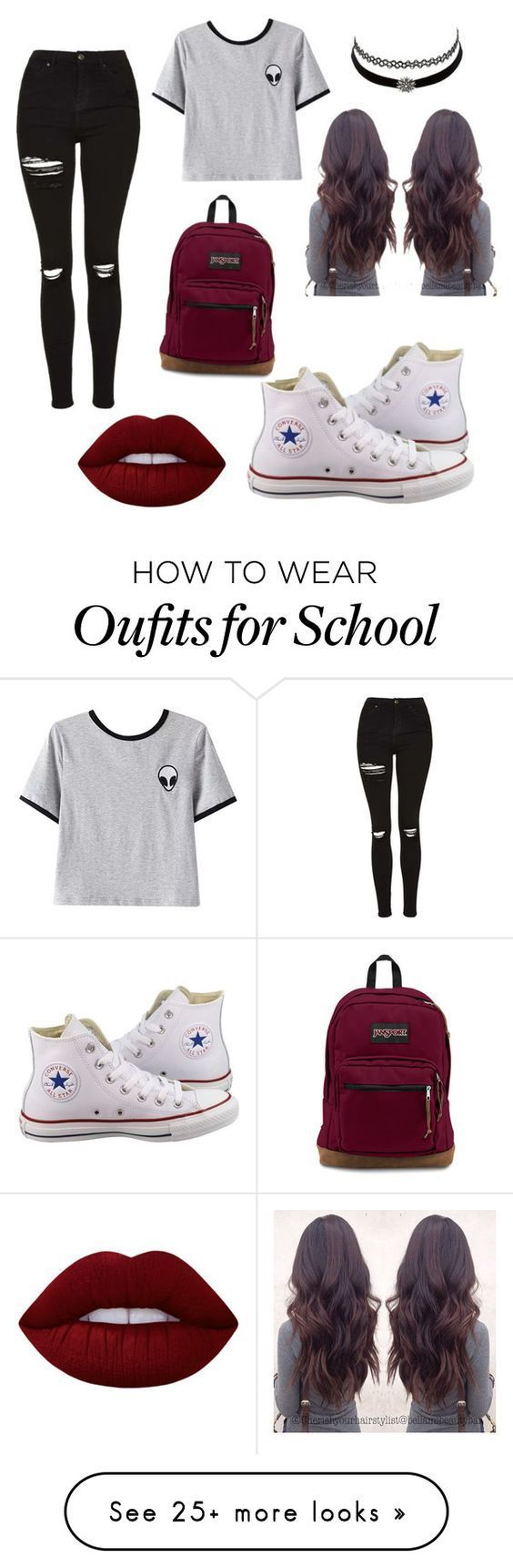"""outfit for school"" by pxrlx on Polyvore featuring Converse, Chicnova Fashion, Topshop, Charlotte Russe and Lime Crime:"