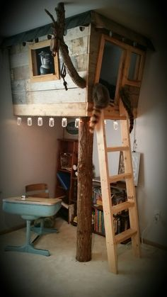 Indoor Tree House made by my husband! Book nook, clubhouse, imagination station …