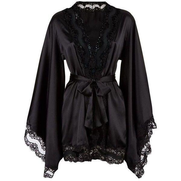 Agent Provocateur Luna Kimono (€540) ❤ liked on Polyvore featuring intimates, robes, lingerie, pajamas, dresses, sleepwear, sexy kimono robe, black kimono, black sheer kimono and see through lingerie