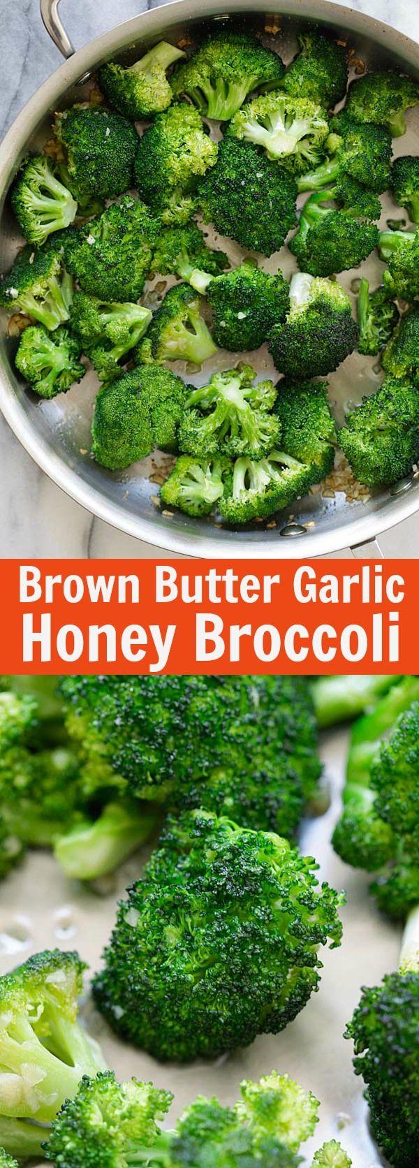 Brown Butter Garlic Honey Roasted Broccoli – dress up plain roasted broccoli with brown butter, garlic and honey. Broccoli has never tasted this good | rasamalaysia.com