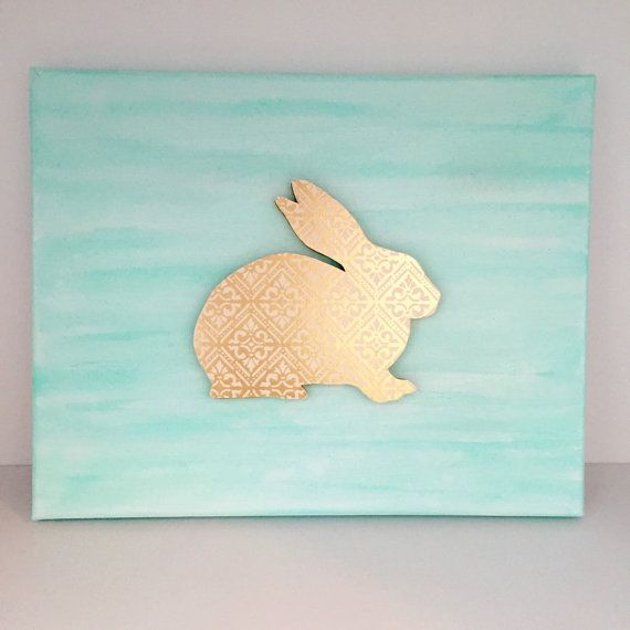 Mint Nursery Decor  Easter Art  Coral Mint by EthelsGranddaughter