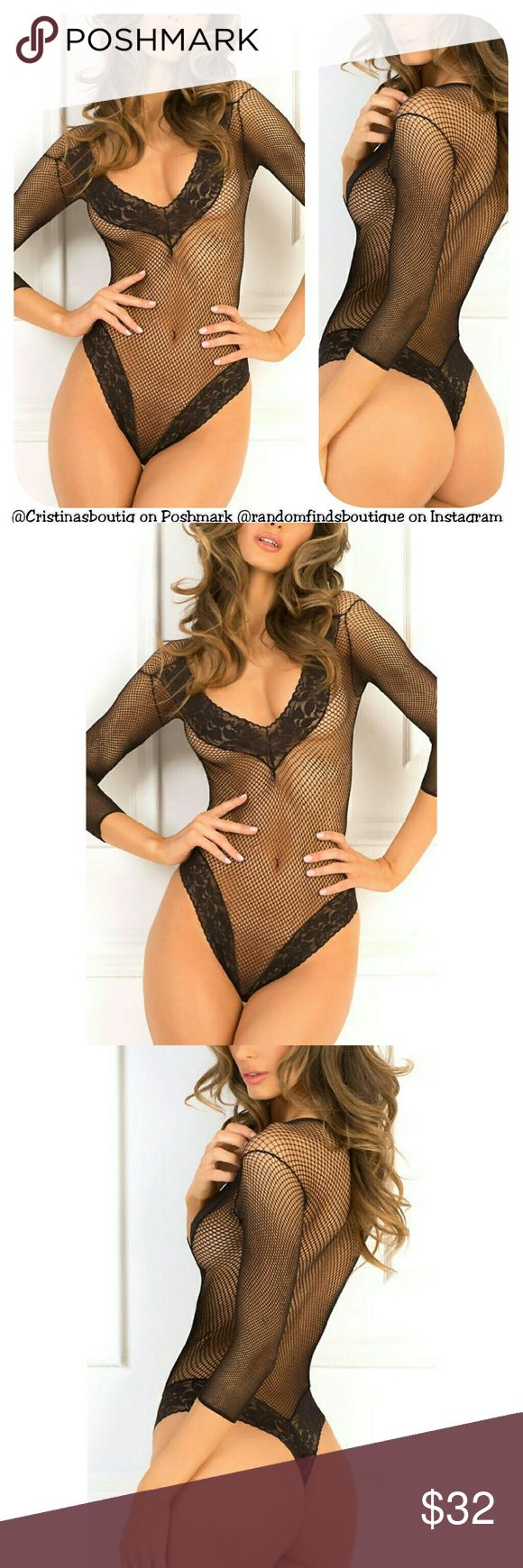 Black fishnet bodystocking bodysuit linjerie 100% NYLON Size: M/L Random Finds Boutique  Intimates & Sleepwear Shapewear