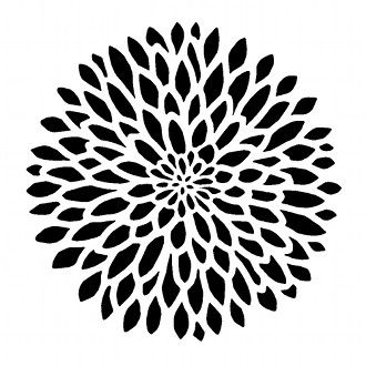 STENCIL for Walls - Chrysanthemum no. 2 - Reusable Modern Flower Stencil
