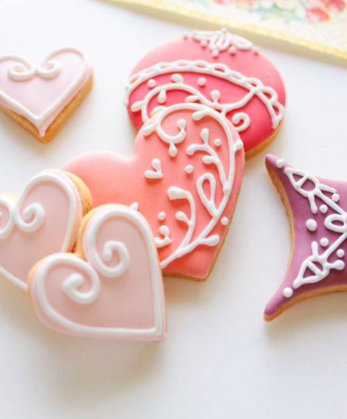 Valentine's day : Sugar Cookies, Christmas Cookies, Valentines Cookies, Cookies Decor, Heart Cookies, Pink Heart, Decor Cookies, Valentines Day, Ice Cookies