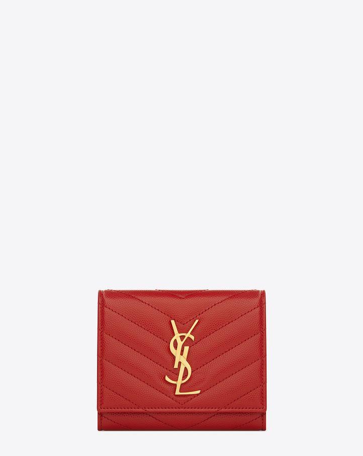 saintlaurent, Monogram Saint Laurent Compact Wallet in Lipstick ...