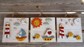 Per tutti gli amanti dei colori e dell'allegria. Questi quadretti con case, sole, gatti, fari, barche, sono l'ideale ...