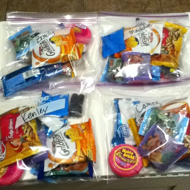 Road trip goody bags. Using this for  my teenagers. Once your bag is empty, you're done. ( less fighting )