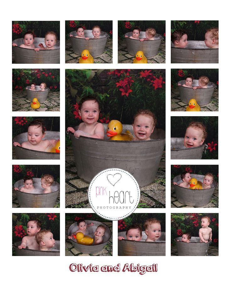 Twin Bath splash session at the pink heart portrait studio Launceston Tasmania .