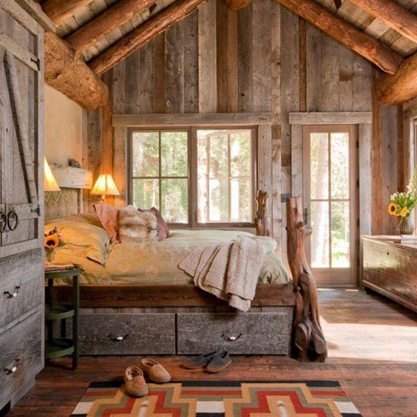Спальня в деревянном стиле в стандартной облицовке