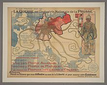 """French Third Republic - Wikipedia : A French propaganda poster from 1917 is captioned with an 18th-century quote: """"Even in 1788, Mirabeau was saying that War is the National Industry of Prussia."""""""