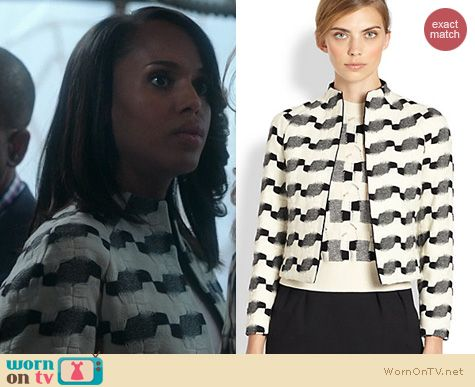 Olivia's black and white patterned jacket on Scandal. Outfit Details: http://wornontv.net/21317 #Scandal #ABC