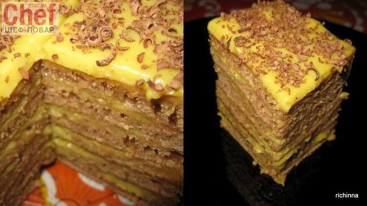 Очень ленивый и быстрый торт! Вам даже не нужно будет брать скалку в руки и зажигать духовку.Шоколадные лепешки с банановым заварным кремом... мммммм... объедение! На 7 лепешек диаметром 20 см…
