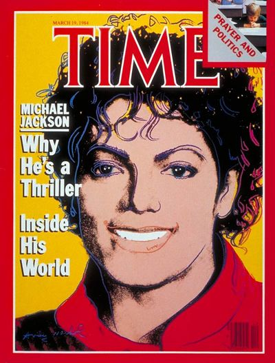 Monday, March 19, 1984 - Michael Jackson - 'Why He's a Thriller' on the cover of Time. (Show Business / COVER STORIES) Michael Jackson's songs, steps and sexy aura set a flashy beat for the decade.   Read more: http://www.time.com/time/magazine/0,9263,7601840319,00.html#ixzz1pWmziA4M