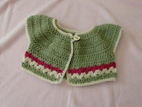 VERY EASY crochet baby / girl's summer bolero tutorial - crochet cardigan (part 1) - YouTube