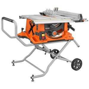 RIDGID, 15-Amp 10 in. Heavy-Duty Portable Table Saw with Stand, R4510 at The Home Depot - Mobile
