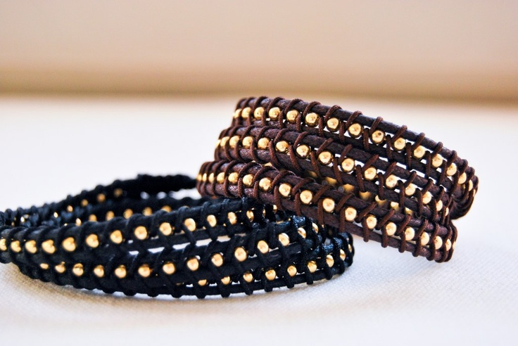 Handmade triple bracelets with gold plated chain and black or brown cord!