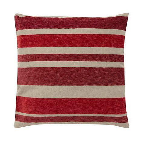 Debenhams Red multi tonal striped cushion- at Debenhams.com