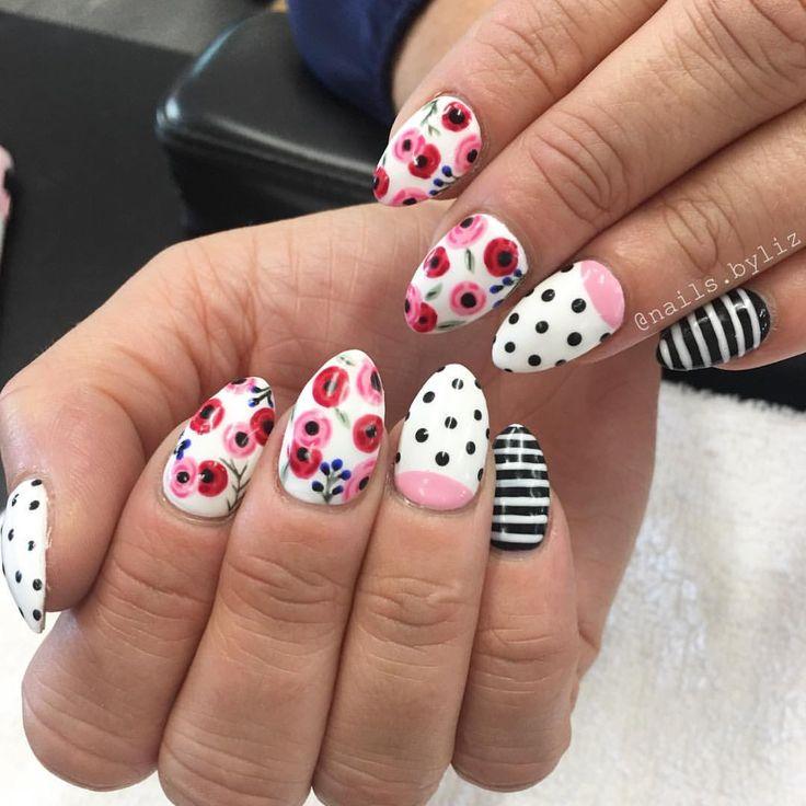 "279 Likes, 5 Comments - Liz Henson (@nails.byliz) on Instagram: ""Pinterest inspired today! #nails #acrylicnails #nailstagram #nailart #handpaintednailart…"""