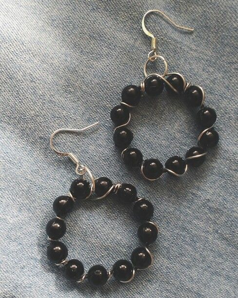 Czarno-srebrne kolczyki / Black and siver earrings