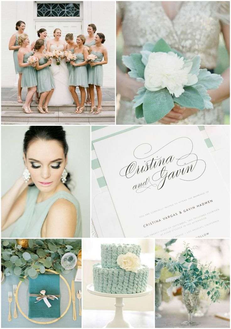 Greyed Jade Wedding Inspiration from Shine Wedding Invitations! How romantic is the color jade?