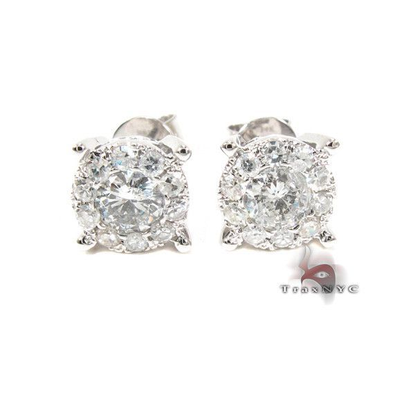 Surround Diamond with White Gold Earrings Mens Diamond Earring White...  ( 1,150) ❤ liked on Polyvore  HipHopRingsDiamond 87a06ba4bc