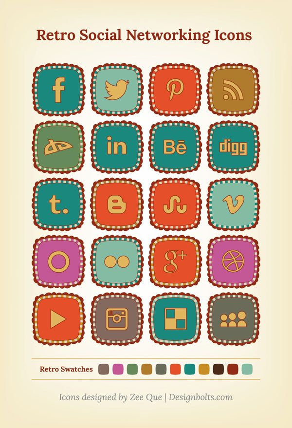 Free Retro Social Networking Icons
